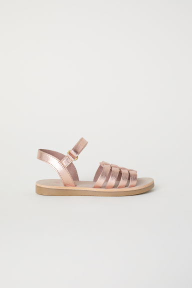 Leather sandals - Rose gold-coloured - Kids | H&M CN