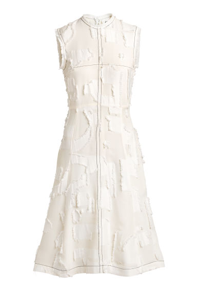 Jacquard-patterned dress - Natural white - Ladies | H&M