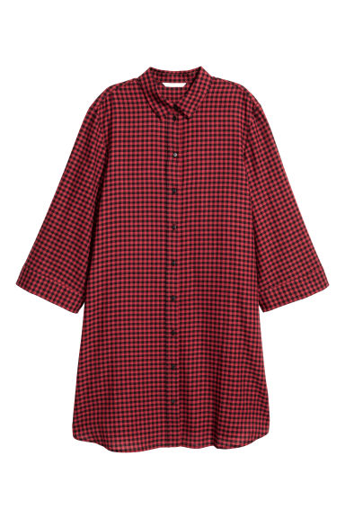 Patterned dress - Red/Black checked - Ladies | H&M CN