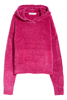 Hooded jumper in chenille