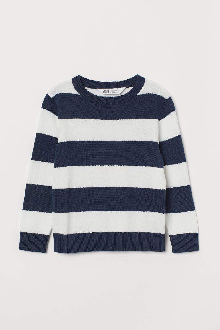 Fine-knit jumper - Dark blue/White striped - Kids   H&M GB