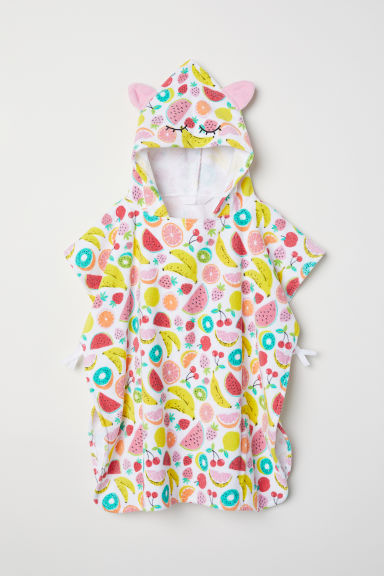Towel poncho - White/Fruit - Kids | H&M CN
