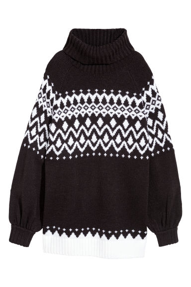 Jacquard-knit polo-neck jumper - Black/Patterned - Ladies | H&M CN
