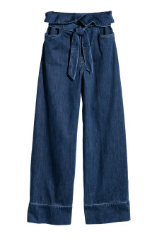 Wide denim tie-belt trousers