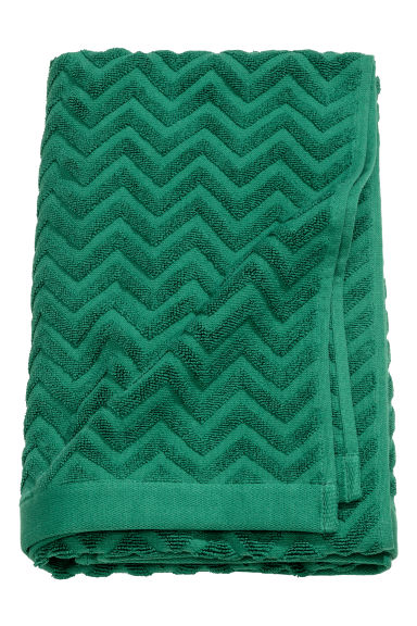 Jacquard-patterned bath towel - Dark green - Home All | H&M GB