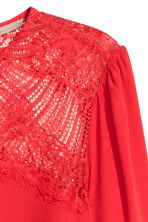H&M+ Blouse with a lace yoke - Red - Ladies | H&M 3