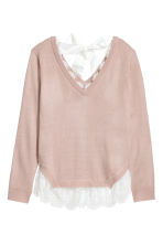 Jumper with lace trims - Powder pink -  | H&M IE 2