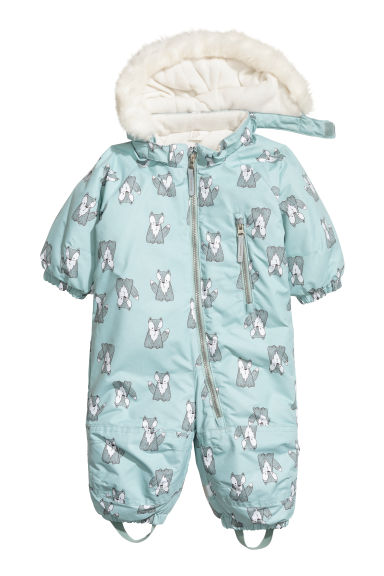 Padded outdoor all-in-one suit - Light turquoise/Foxes - Kids | H&M
