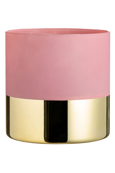 Large glass plant pot - Powder pink/Gold-coloured - Home All | H&M IE