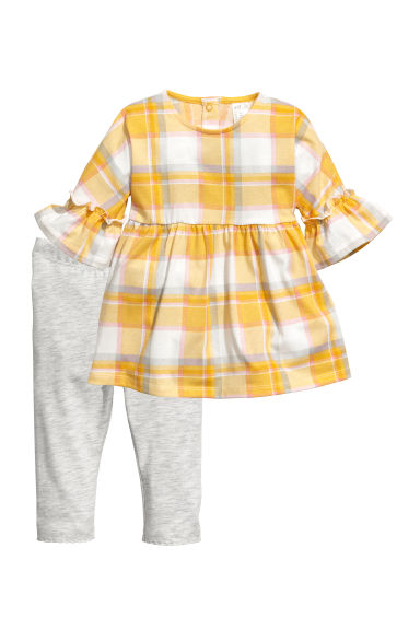 Dress and leggings - Yellow/Checked -  | H&M CN