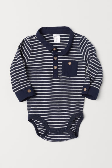 Bodysuit with a collar - Dark blue/Striped - Kids | H&M CN