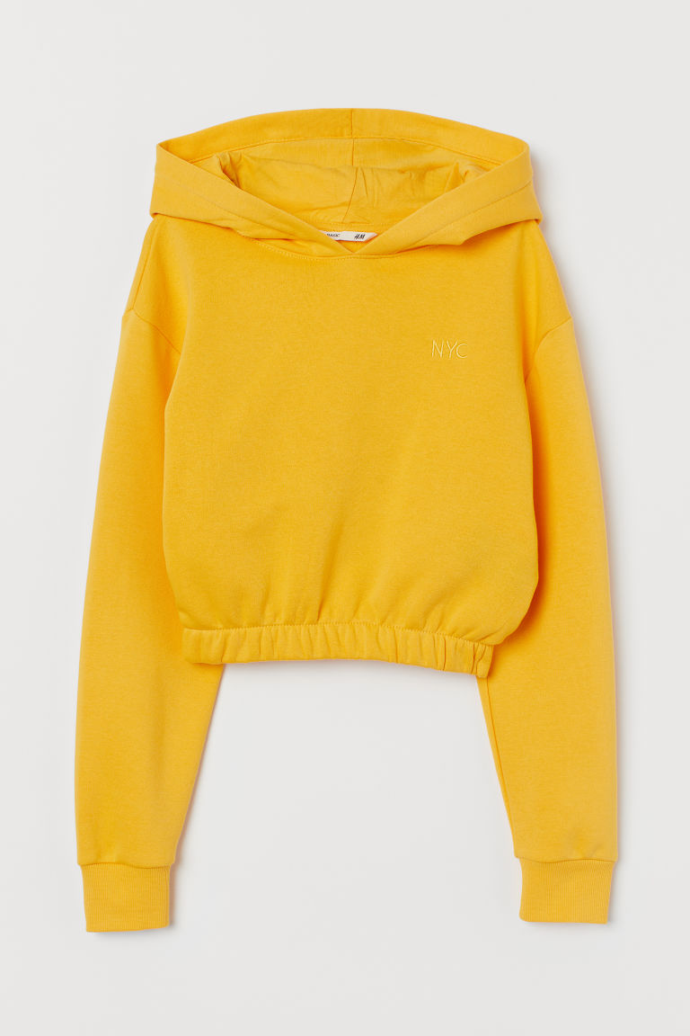 Cropped hooded top - Yellow/NYC - Kids | H&M GB