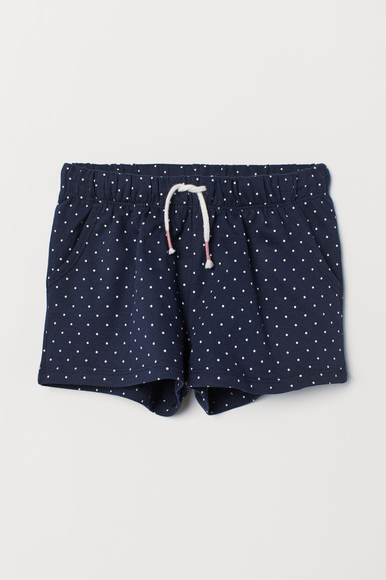 Jersey shorts - Dark blue/Spotted - Kids | H&M GB