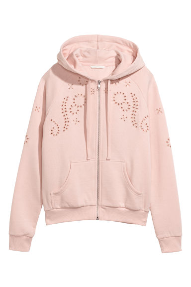 Hooded jacket with embroidery - Light pink -  | H&M CN