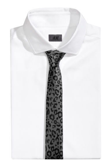 Satin tie - Grey/Leopard print - Men | H&M