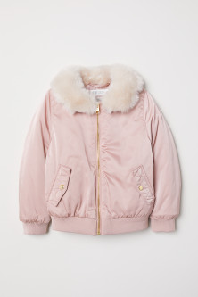 Faux Fur-collar Bomber Jacket
