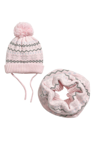 Hat and tube scarf - Pink - Kids | H&M GB