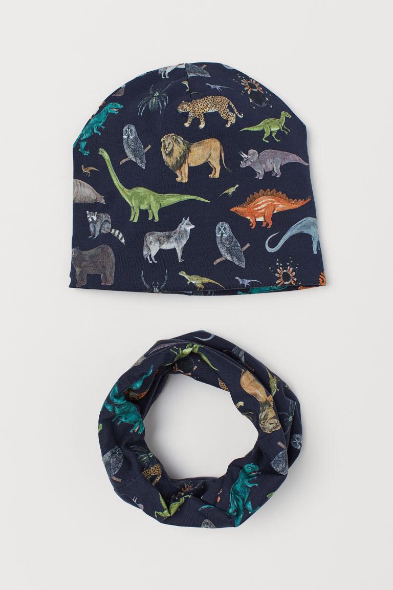 Hat and tube scarf - Dark blue/Animals - Kids | H&M GB