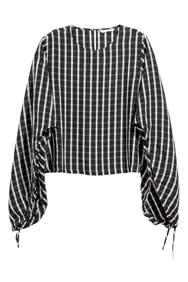 Lyocell-blend blouse - Black/White checked - Ladies | H&M CN