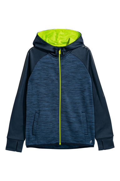 Hooded sports jacket - Dark blue marl - Kids | H&M CN