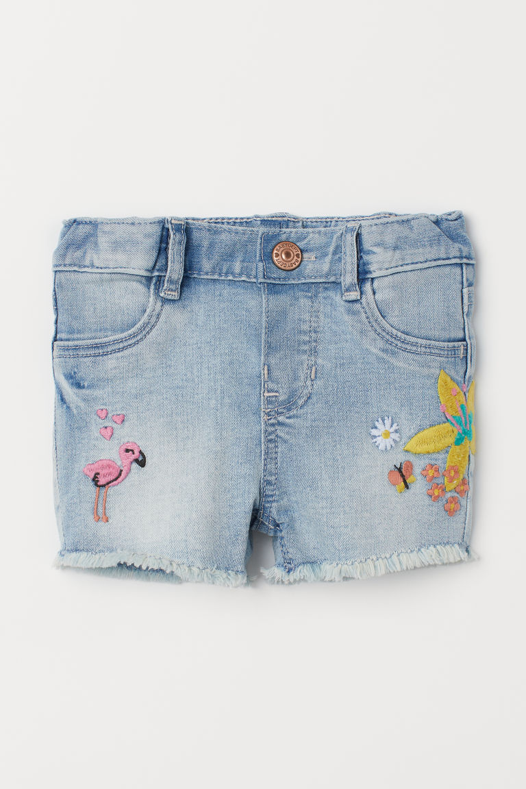 Denim shorts with embroidery - Light denim blue/Embroidery - Kids | H&M GB