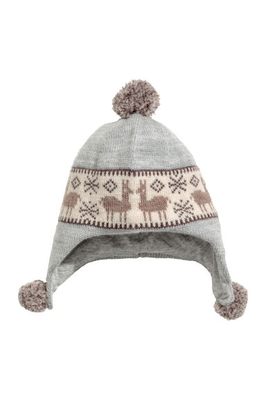 Wool hat and mittens - Grey marl -  | H&M IE