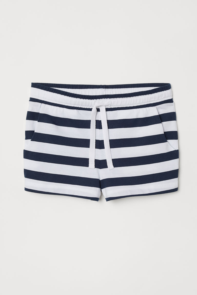 Short jersey shorts - White/Dark blue striped - Kids | H&M GB
