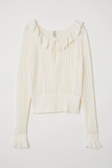 Frilled knitted jumper