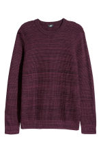 Textured-knit jumper - Burgundy marl - Men | H&M CN 2