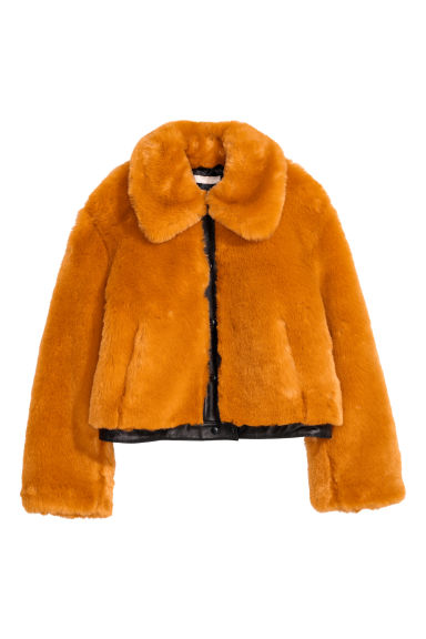 Short faux fur jacket - Orange - Ladies | H&M IE