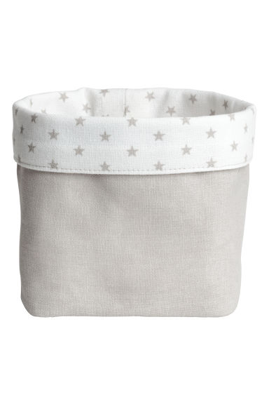 Small canvas storage basket - Light grey/Stars - Home All | H&M GB