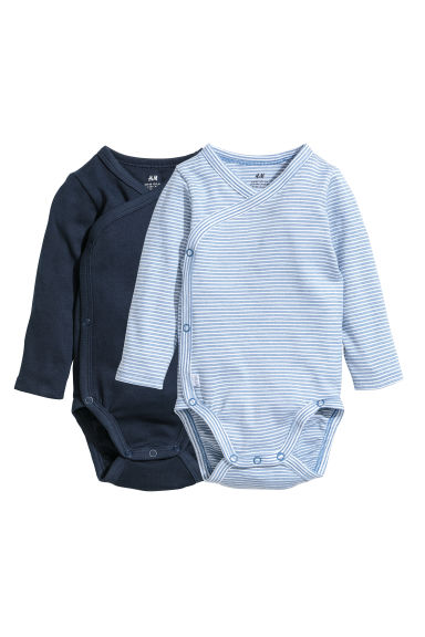 2-pack long-sleeved bodysuits - Dark blue/Striped -  | H&M