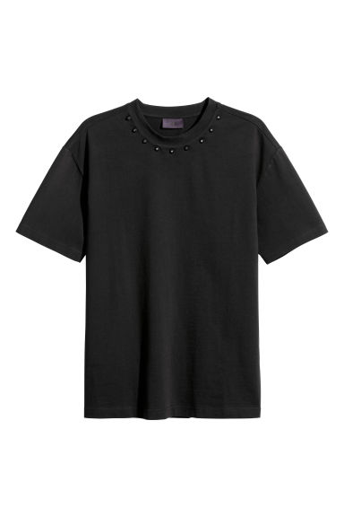 T-shirt with studs - Black -  | H&M CN