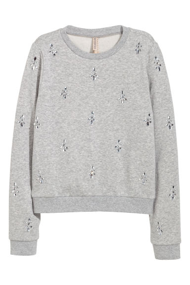 Sweatshirt with sparkly stones - Grey marl/Sparkly stones -  | H&M