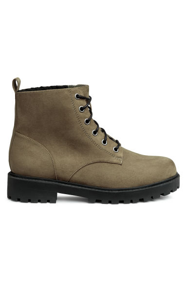Pile-lined boots - Khaki green - Ladies | H&M 1