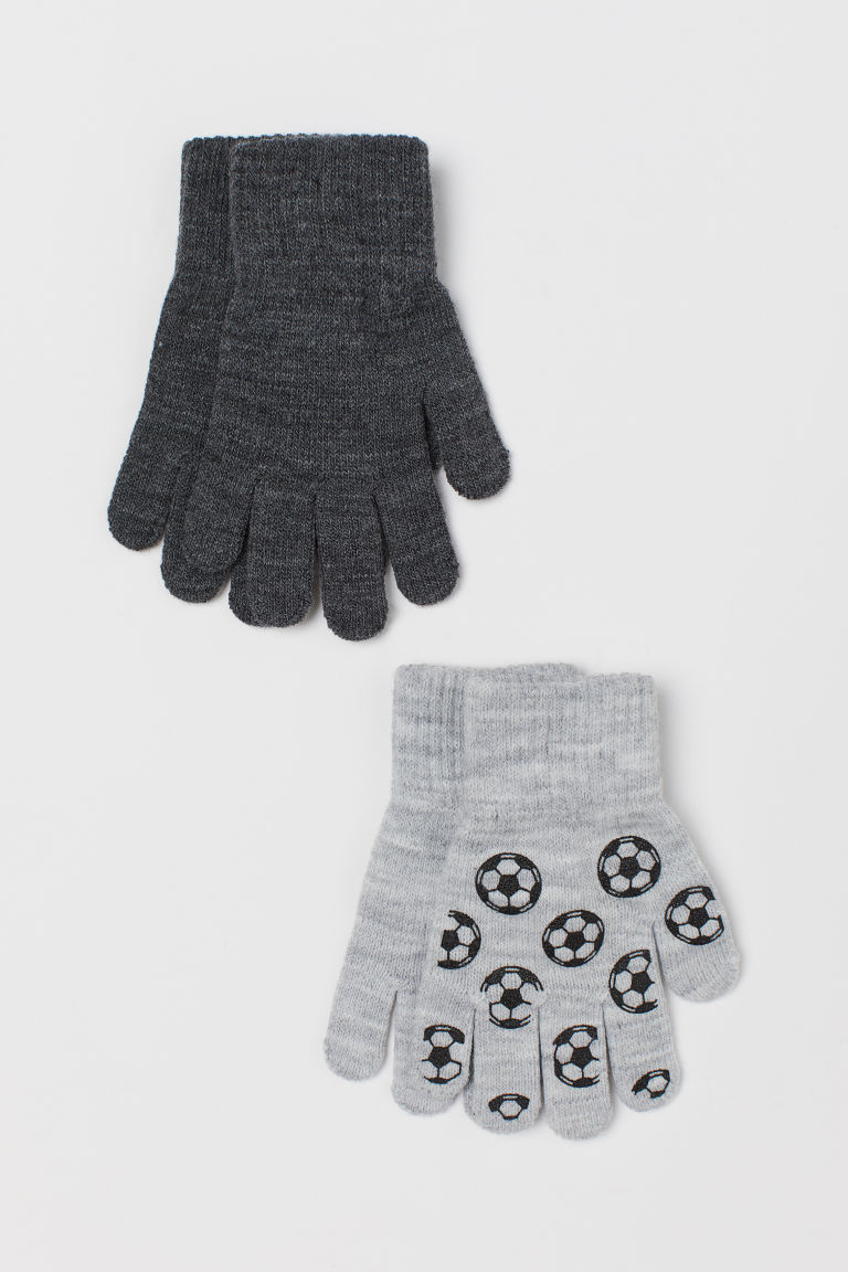 2-pack gloves - Grey marl/Footballs - Kids | H&M GB