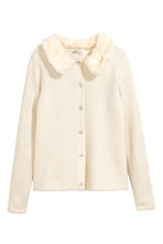 Cardigan with faux fur collar - Natural white - Kids | H&M CN 2