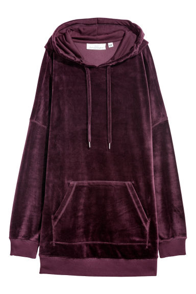 Velour hooded top - Burgundy -  | H&M
