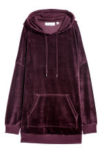Sweat-shirt capuche en velours - Bordeaux - FEMME | H&M BE 2