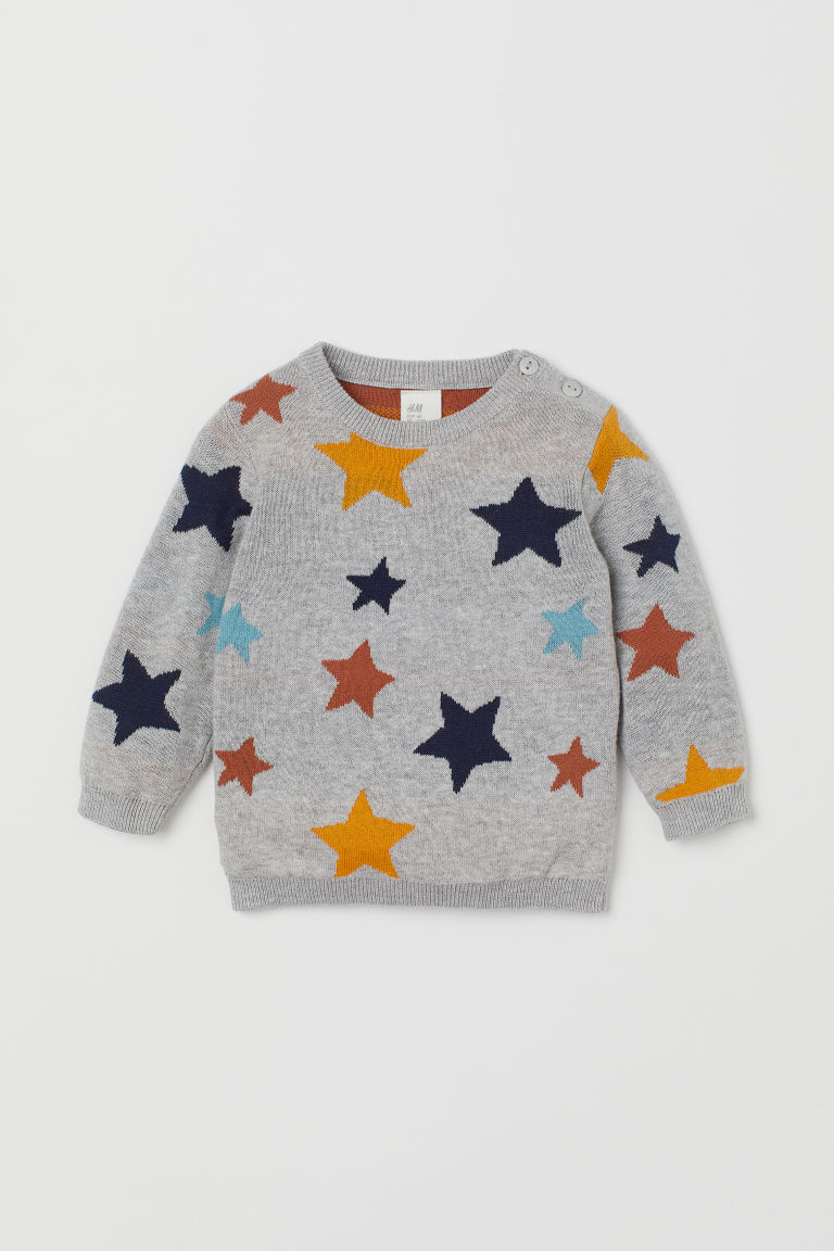 Fine-knit jumper - Light grey marl/Stars - Kids | H&M GB