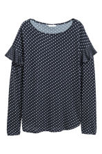 Long-sleeved flounced top - Dark blue/Spotted - Ladies | H&M CN 2