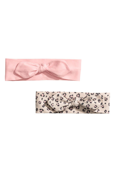 2-pack jersey hairbands - Powder pink/Leopard print - Kids | H&M