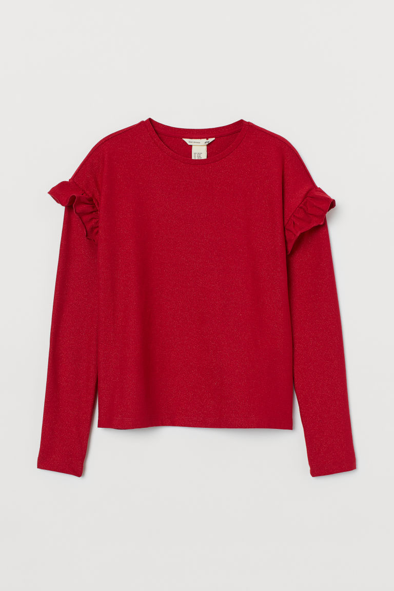 Glittery jersey top - Red - Kids | H&M GB