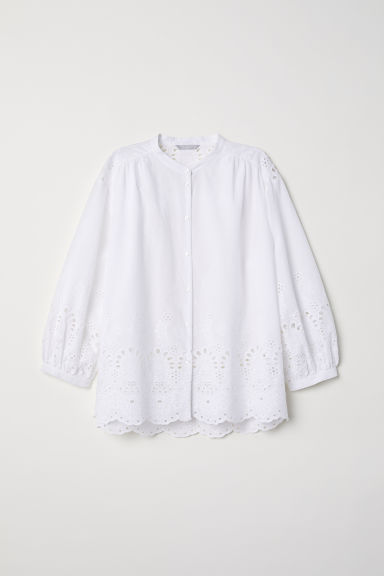 Hole-embroidered cotton blouse Model