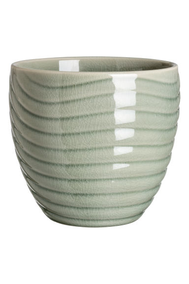 Stoneware plant pot - Dusky green - Home All | H&M CN