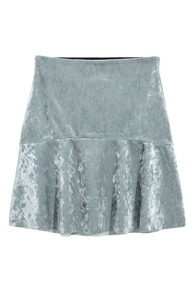 Crushed velvet skirt - Silver-coloured - Ladies | H&M