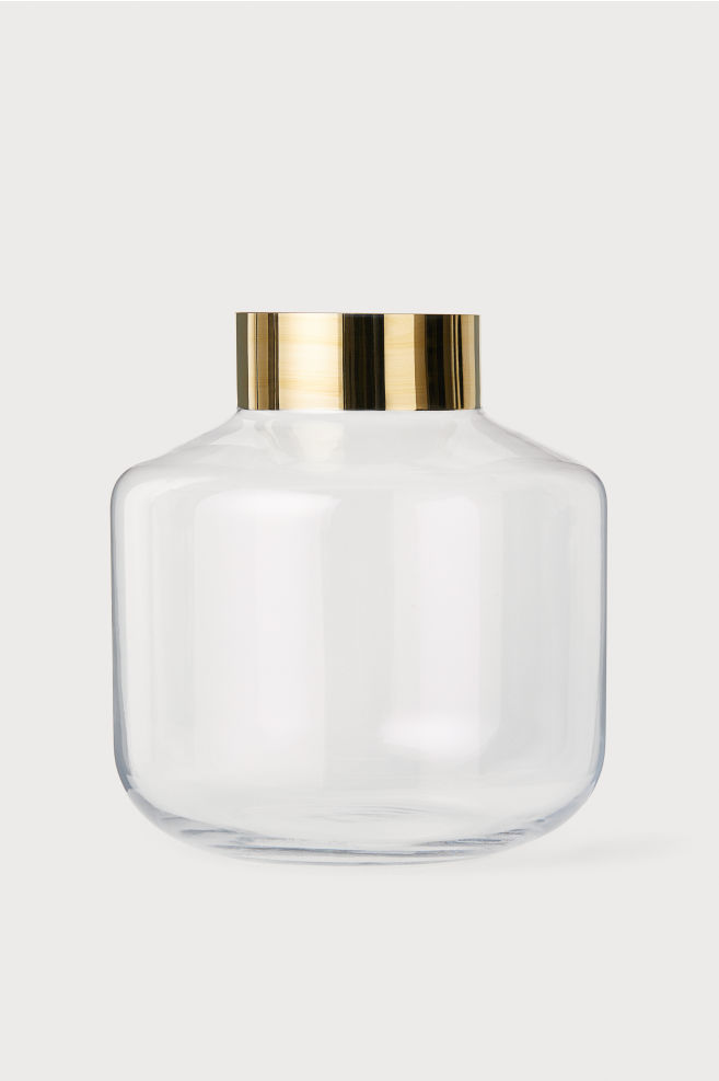 Round Glass Vase - Clear glass/gold-colored - Home All | H&M US 2