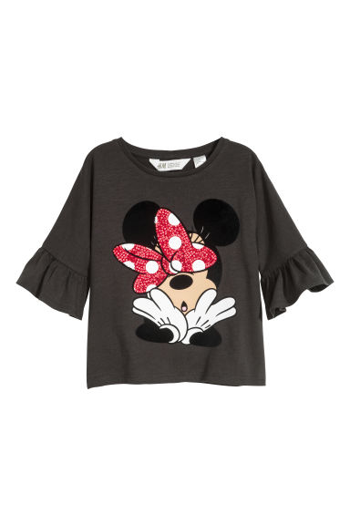 Tricot top met print - Zwart/Minnie Mouse -  | H&M BE