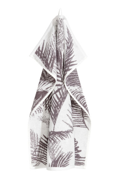Jacquardgeweven handdoek - Grijs/wit dessin - HOME | H&M BE
