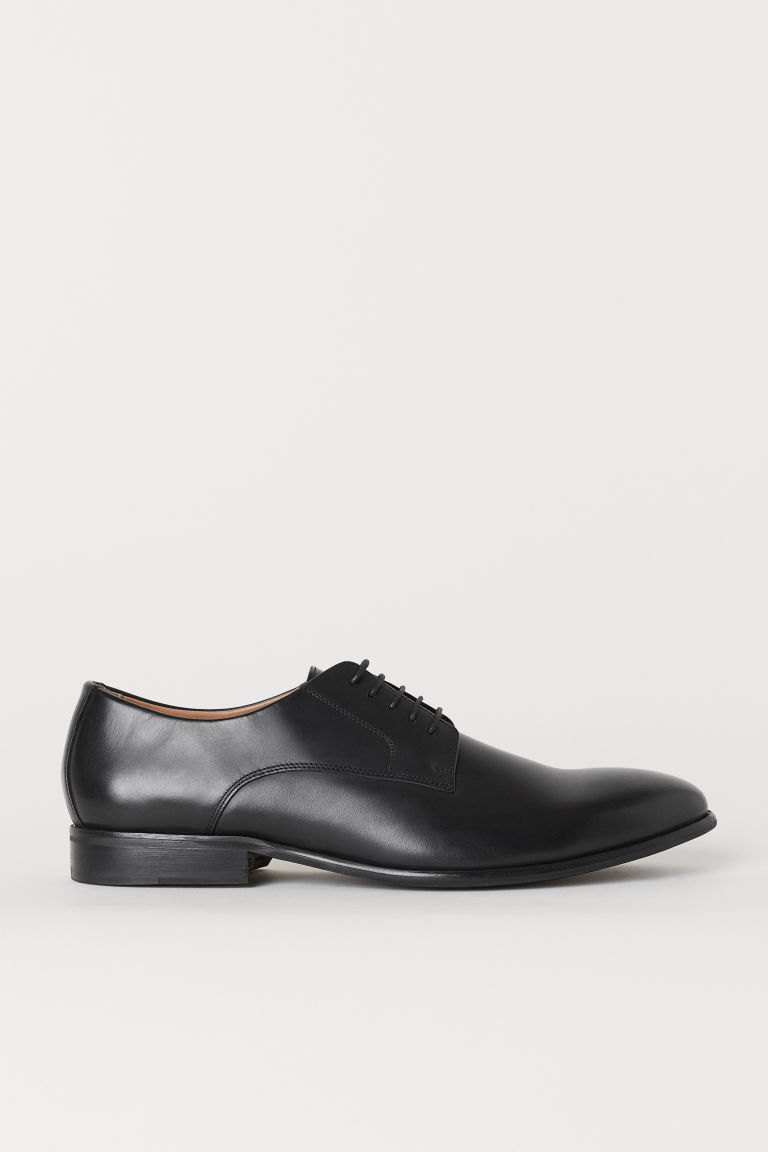 Leather Derby shoes - Black - Men | H&M GB
